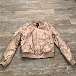 Rose Gold Faux Leather Jacket